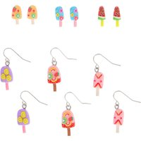 Claire's Silver Fruity Popsicle Mixed Earrings - 6 Pack - Jewellery Gifts
