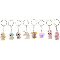 Claire's Best Friends Pastel Fuzzy Keychains - 8 Pack - Keyrings Gifts