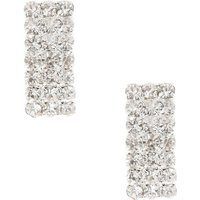 Claire's Rectangular Crystal Style Silver Tone Stud Earrings - Style Gifts