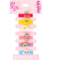 Claire's Club Bright Summer Charms Ribbed Hair Ties - 6 Pack - Hello Kitty Gifts