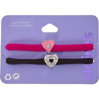 Claire's Pink And Black Heart Charms Elastic Bracelets - Charms Gifts