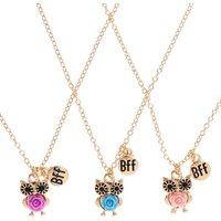 Claire's Best Friends Gold Tone Carved Rose Owl Pendant Necklaces - Necklaces Gifts