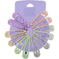 Claire's Pastel Pearl Glitter Hair Snap Clips - 12 Pack - Cake Gifts
