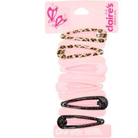 Claire's Club Leopard Print Snap Hair Clips - 6 Pack - Leopard Print Gifts