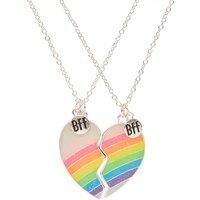Claire's Best Friends Neon Rainbow Split Heart Pendant Necklaces - Necklaces Gifts