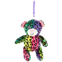 Claire's Rainbow Leopard Bear Soft Keyring Clip - Leopard Gifts
