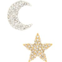 Claire's Mixed Metal Glass Rhinestone Cosmic Brooches - 2 Pack - Glass Gifts