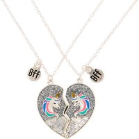Claire's Best Friends Glitter Unicorn Pendant Necklaces - Silver, 2 Pack - Silver Gifts