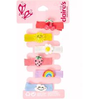 Claire's Club Summer Charms Ribbed Ribbon Hair Clips - 6 Pack - Summer Gifts