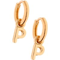 Claire's Gold 10MM Initial Huggie Hoop Earrings - P - Jewellery Gifts