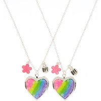 Claire's Best Friends Rainbow Floral Heart Locket Pendant Necklaces - 2 Pack - Claires Gifts