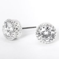 Claire's Silver Cubic Zirconia Round Vintage Stud Earrings - 8MM - Jewellery Gifts