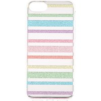 Claire's Rainbow Glitter Striped Phone Case - Fits Iphone 6/7/8 - Rainbow Gifts