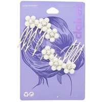 Claire's Silver Pearl Floral Hair Combs - 2 Pack - Floral Gifts