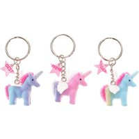 Claire's Best Friends Forever Fuzzy Unicorn Keychains - 3 Pack - Keyrings Gifts