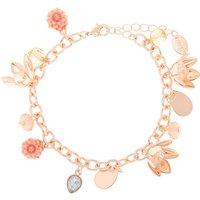 Claire's Rose Gold Floral Charm Bracelet - Pink - Charm Bracelet Gifts