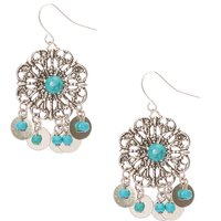 Claire's Burnished Silver-Tone Turquoise Stone Medallion Coin Fringe Drop Earrings - Turquoise Gifts