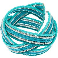 Claire's Woven Bead Cuff Bracelet - Turquoise - Turquoise Gifts
