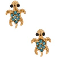 Claire's Gold Turtle Stud Earrings - Green - Turtle Gifts