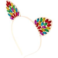 Claire's Rose Gold Rainbow Bling Cat Ears Headband - Bling Gifts