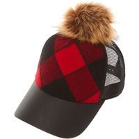 Claire's Red And Black Checked Baseball Hat With Pom - Baseball Gifts