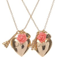 Claire's Gold Love Heart And Paris Best Friend Necklace Set - Friend Gifts