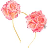 Claire's Ombre Flower Bear Ears Headband - Pink - Bear Gifts