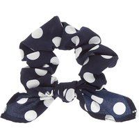 Claire's Polka Dot Knotted Bow Hair Scrunchie - Navy - Polka Dot Gifts