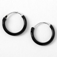 Claire's Sterling Silver 10MM Hoop Earrings - Black - Jewellery Gifts