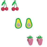 Claire's Glitter Fruit Stud Earrings - 3 Pack - Fruit Gifts