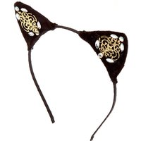 Claire's Embellished Gem Velvet Cat Ears Headband - Black - Cat Gifts