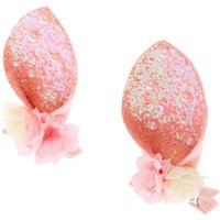 Claire's Floral Glitter Bunny Ear Hair Clips - Pink, 2 Pack - Floral Gifts