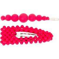 Claire's Silver Pearl Hair Pin & Snap Clip - Neon Pink, 2 Pack - Pearl Gifts
