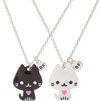 Claire's Best Friends Black & White Cat Pendant Necklaces - Necklaces Gifts