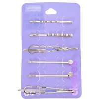 Claire's Silver Crystal Pearl Geometric Hair Pins - 6 Pack - Crystal Gifts