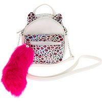 Claire's Holographic Leopard Cat Mini Backpack Crossbody Bag - White - Backpack Gifts