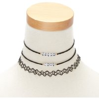 Claire's Dream & Love Choker Necklaces - Black - Necklaces Gifts
