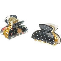 Claire's Floral Polka Dot Hair Claws - Black - Polka Dot Gifts