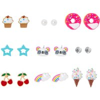 Claire's Rainbow Sweets & Panda Stud Earring Set - 9 Pack - Sweets Gifts