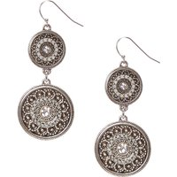Claire's Antique Silver Tone Medallion Drop Earrings - Silver Gifts