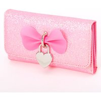 Claire's Sparkly Glitter Heart Charm Wallet - Pink - Charm Gifts