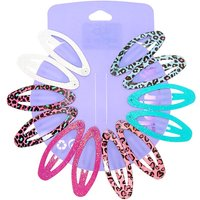 Claire's Glitter Leopard Print Oval Snap Hair Clips - 12 Pack - Leopard Print Gifts