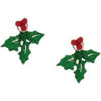 Claire's Glitter Holly Leaf Ear Jackets - Green - Jackets Gifts