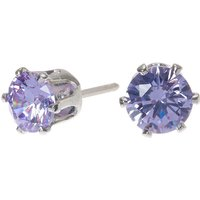 Claire's Silver Cubic Zirconia 6MM Round Stud Earrings - Lavender - Lavender Gifts