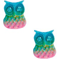 Claire's Silver Pastel Rainbow Owl Stud Earrings - Jewellery Gifts
