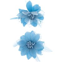 Claire's Glitter Lily Flower Hair Clips - Baby Blue, 2 Pack - Glitter Gifts