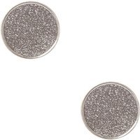 Claire's Large Round Black Glitter Stud Earrings - Glitter Gifts