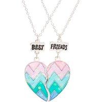 Claire's Best Friends Pastel Chevron Striped Split Heart Pendant Necklaces - Necklaces Gifts