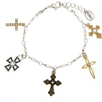Claire's Mixed Metal Cross Charm Bracelet - Charm Bracelet Gifts