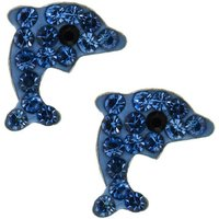 Claire's Sterling Silver Dolphin Stud Earrings - Blue - Dolphin Gifts